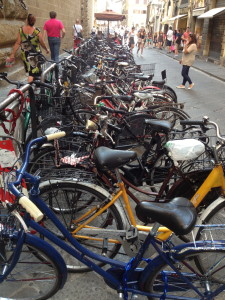 One of Florence's many bike racks, crammed with junkers
